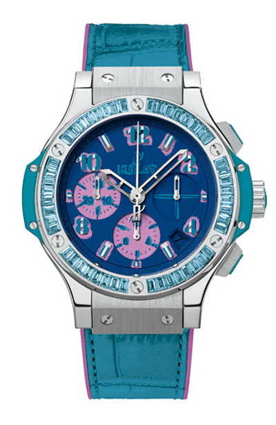Hublot Big Bang Pop Art Steel Blue 341.SL.5199.LR.1907.POP14 Automatic Crocodile skin Ladies' watch 42 h 10 ATM Steel bezel Sapphire Glass Blue dial Fold clasp Chronograph Date Center Seconds Small Seconds Limited Edition