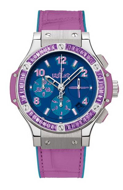 Hublot Big Bang Pop Art Steel Purple 341.SV.5199.LR.1905.POP14 Automatic Crocodile skin Ladies' watch 10 ATM Steel bezel Sapphire Glass Blue dial Chronograph Date Center Seconds Small Seconds Limited Edition