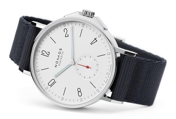 Nomos Ahoi 555 Automatic Steel case Textile bracelet Men's watch/Unisex DUW 5001 calibre Sapphire Glass Silver dial Arabic numerals Black bracelet Small Seconds