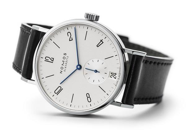 Nomos Tangomat Datum 602 Automatic Steel case Leather bracelet Men's watch/Unisex NOMOS Zeta calibre Steel bezel Sapphire Glass White dial Arabic numerals Date function Small Seconds, Blue Steel Hands