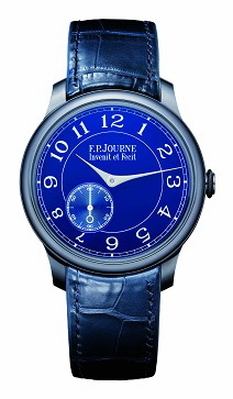 The F.P. Journe Chronometre Bleu features a unique blue dial finished with multiple layers of lacquer that reflects countless shades of blue.