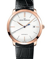 The Girard-Perregaux 1966 simplest iteration comes with only three thin leaf hands and subtle applied indexes.