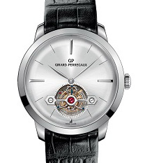 The Girard-Perregaux 1966 tourbillon features a discreet aperture on the dial for the regulator, secured in place by a handsomely executed arrow-shaped bridge.