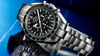 The Omega Speedmaster Solar Impulse HB-SIA has a titanium case, carbon fiber dial, chronograph function as well as a 24 hour GMT hand.