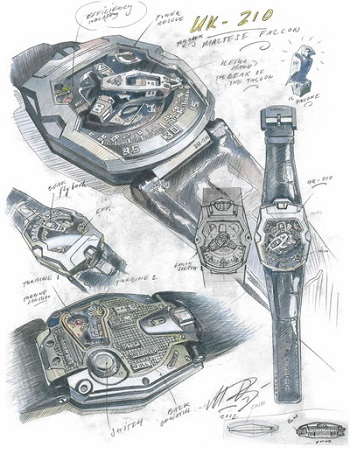 A detailed drawing of the Urwerk UR-210.